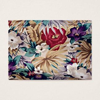 Cartão De Visitas Teste padrão de flor tropical retro