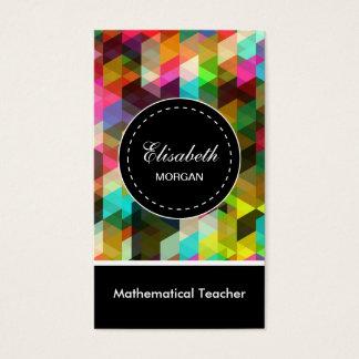Cartão De Visitas Teste padrão de mosaico colorido do professor