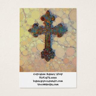 Cartão De Visitas Teste padrão de mosaico transversal cristão legal