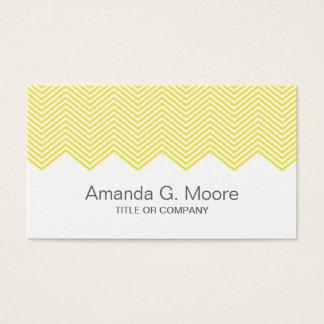 Cartão De Visitas Teste padrão de ziguezague amarelo na moda moderno