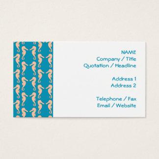 Cartão De Visitas Teste padrão do cavalo marinho da cor da cerceta e