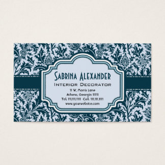 Cartão De Visitas Teste padrão frondoso elegante das artes e dos