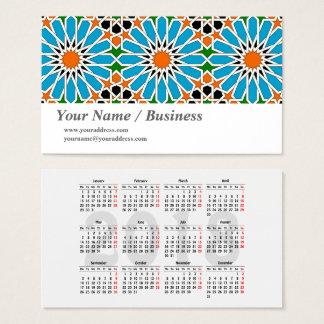 Cartão De Visitas Teste padrão geométrico islâmico com o calendário