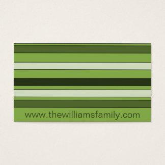Cartão De Visitas Teste padrão horizontal verde das listras das