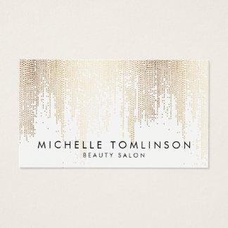 Cartão De Visitas Teste padrão Luxe da chuva dos confetes do ouro do
