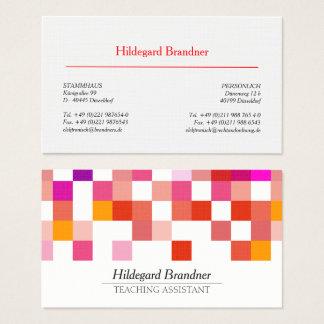 Cartão De Visitas Teste padrão moderno vermelho do assistente de