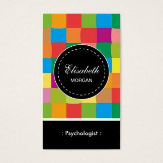 Cartão De Visitas Teste padrão quadrado colorido do psicólogo