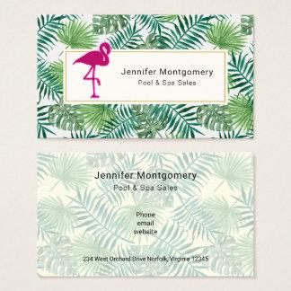 Cartão De Visitas Teste padrão tropical das folhas e flamingo
