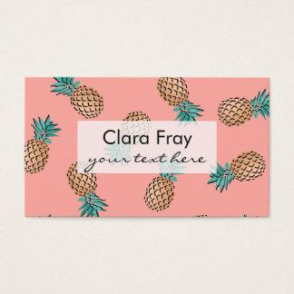 Cartão De Visitas teste padrão tropical do abacaxi da folha de ouro
