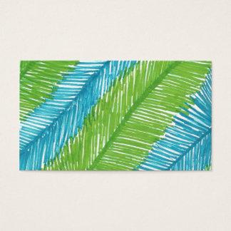 Cartão De Visitas Teste padrão verde e azul das folhas de palmeira