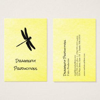 Cartão De Visitas Textura amarela (preta) da libélula
