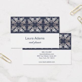 Cartão De Visitas Textura barroco elegante da flor da prata do