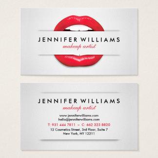 Cartão De Visitas Textura cinzenta dos lábios vermelhos legal do