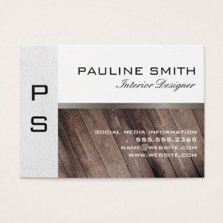 Cartão De Visitas Textura e madeira com monograma