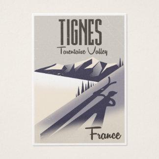 Cartão De Visitas Tignes, poster de viagens do esqui de France