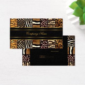 Cartão De Visitas Tigre misturado elegante preto do leopardo da