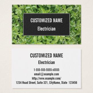 Cartão De Visitas Tipo verde fotografia do arbusto da conversão da