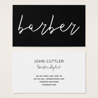 Cartão De Visitas Tipografia branca preta minimalista simples do