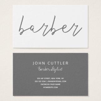 Cartão De Visitas Tipografia cinzenta do barbeiro do carvão vegetal