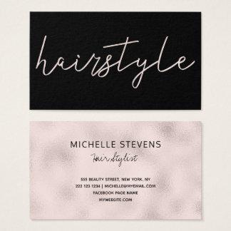 Cartão De Visitas Tipografia cor-de-rosa do cabeleireiro do preto da