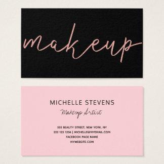 Cartão De Visitas Tipografia cor-de-rosa do maquilhador do preto do