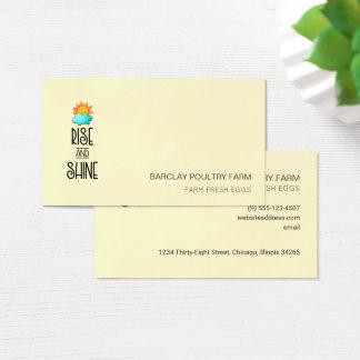 Cartão De Visitas Tipografia da elevação e do brilho com Sun e nuvem