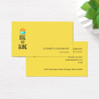 Cartão De Visitas Tipografia da elevação e do brilho no amarelo