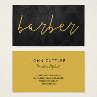 Cartão De Visitas Tipografia de couro preta luxuosa simples do ouro