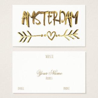 Cartão De Visitas Tipografia holandesa do olhar do ouro do amor de