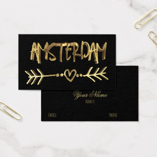 Cartão De Visitas Tipografia holandesa do ouro do preto do amor de