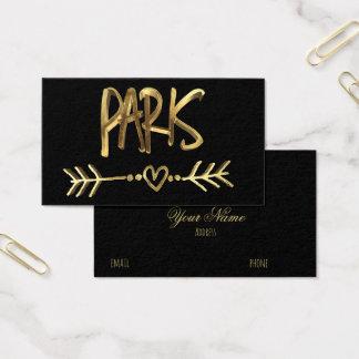 Cartão De Visitas Tipografia preta do ouro de France do amor de