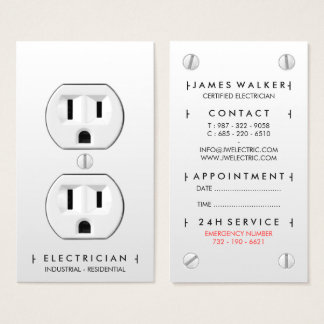 Cartão De Visitas Tomada elétrica branca simples moderna do