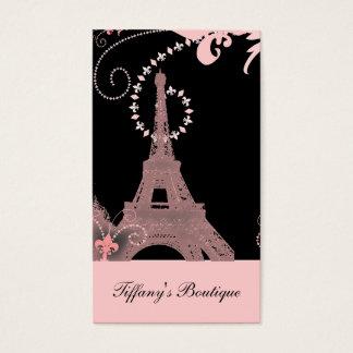 Cartão De Visitas torre Eiffel francesa de Paris do rosa do país do