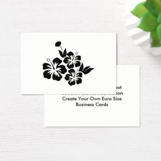 Cartão De Visitas Três flores tropicais do hibiscus preto