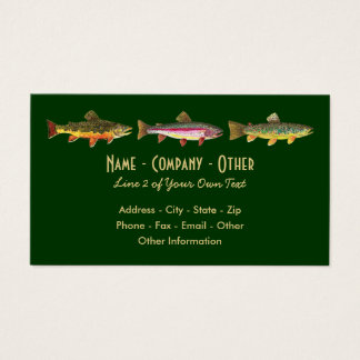 Cartão De Visitas Truta 3: Arco-íris Brown do ribeiro - pescador da