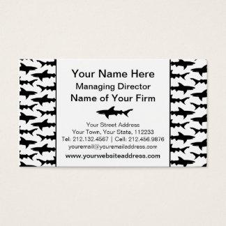Cartão De Visitas Tubarões - teste padrão preto e branco elegante do
