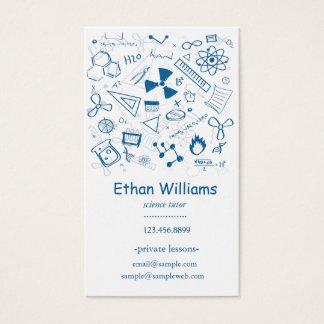 Cartão De Visitas Tutor de ensino desenhado mão da ciência dos