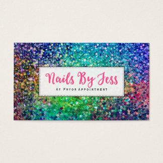 Cartão De Visitas Unhas multicoloridos do impressão da textura do
