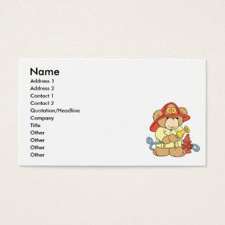 Cartão De Visitas Urso bonito do sapador-bombeiro do bombeiro