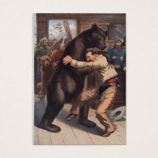 Cartão De Visitas Urso dos Wrestles do homem - litografia do vintage
