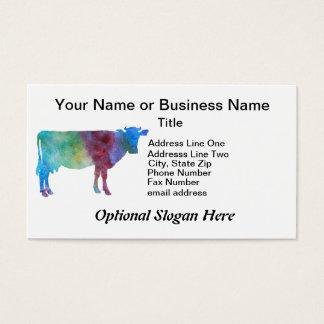 Cartão De Visitas Vaca do arco-íris com texto customizável