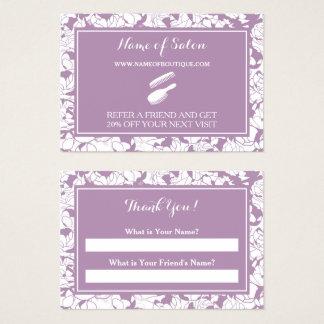 Cartão De Visitas Vale floral roxo moderno da referência do amigo do