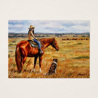 Cartão De Visitas Vaqueira pequena no cavalo do gado