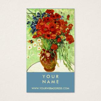 Cartão De Visitas Vaso com margaridas e papoilas por Van Gogh