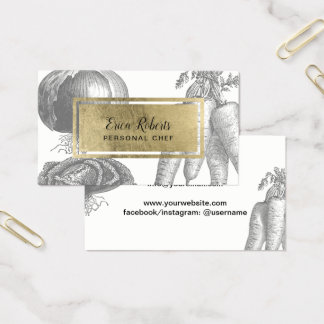 Cartão De Visitas Vegetais pessoais do vintage da etiqueta do ouro