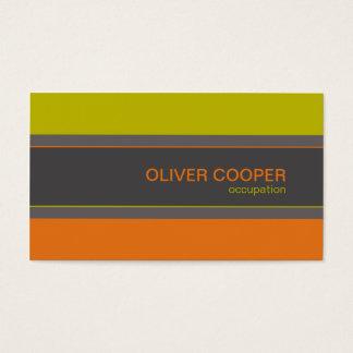 Cartão De Visitas Verde alaranjado das cores retros modernas do