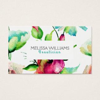 Cartão De Visitas Verde azul & flores de brotamento cor-de-rosa