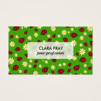 Cartão De Visitas verde bonito do teste padrão de flor do joaninha e