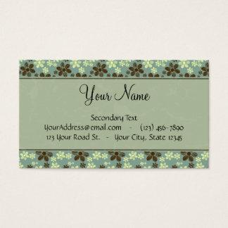 Cartão De Visitas Verde de mar retro das flores com listras e