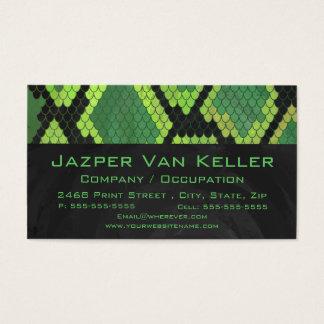 Cartão De Visitas Verde e preto do cobra do monograma